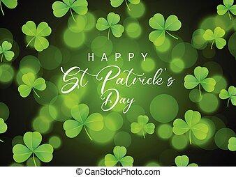 St Patrick's Day background with shamrock on bokeh lights