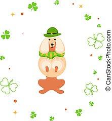 Cute cartoon dog leprechaun