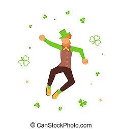 Cute cartoon leprechaun dancing amongst shamrock.