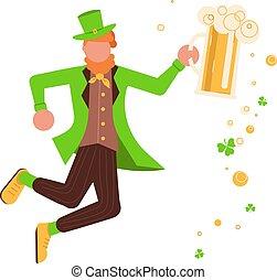 Cute cartoon leprechaun with mug of beer - St Patricks Day...