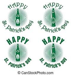 St. Patricks Day banner design with beer bottles