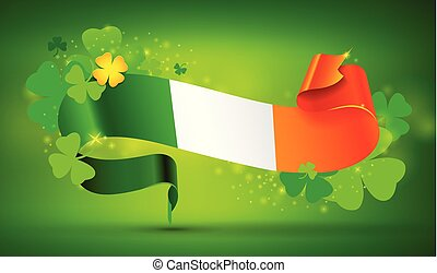 St. Patrick's day banner with Irish flag and clovers