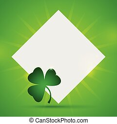 St. Patrick's day banner with paper and clover