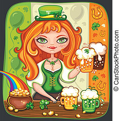 St. Patrick's Day beer - Cute girl serving Saint Patrick's...