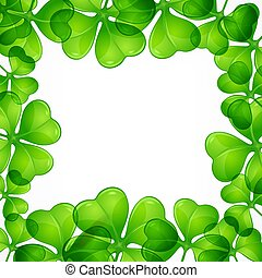 St Patricks day border pattern with clover leave. Vector.
