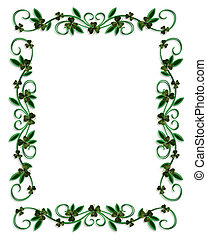 3D Illustration for St Patricks Day Card, Irish wedding invitation background, border or frame with shamrocks and copy space.