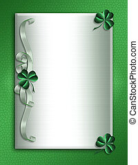 Illustration for St Patricks Day Card, Irish wedding invitation, background, border or frame with shamrocks and ribbons on satin with copy space