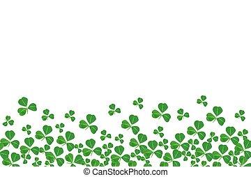 St Patricks Day bottom border of shamrocks over a white...