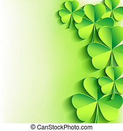 Abstract stylish St. Patrick's day background with green leaf clover. Trendy floral background. St. Patrick day card. Vector illustration