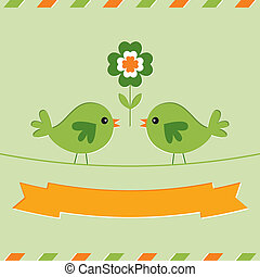 St. Patrick's Day card with cute birds