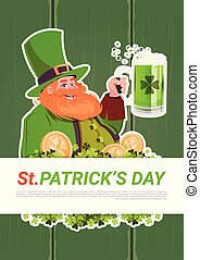 St. Patricks Day Card With Leprechaun Drinking Beer On Green Wooden Background