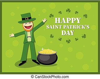 St. Patrick's Day card with leprechaun in a suit