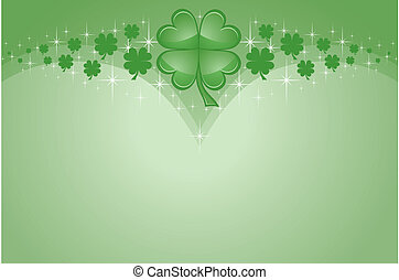 Illustration of a St. Patrick Day card. Includes green four leaf clovers or shamrocks.