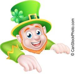 St Patricks Day Cartoon Leprechaun Pointing - Leprechaun...