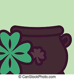 st patricks day cauldron with clover