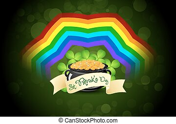 St. Patricks Day Cauldron with Gold Coins, Rainbow and Shamrock
