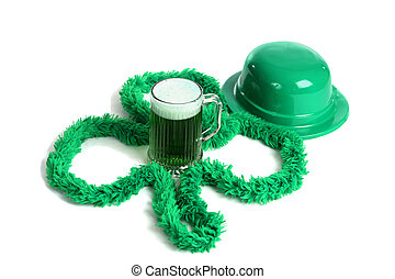 St Patricks Day Celebration - A mug of green beer with an...