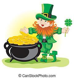 St. Patrick's Day, cheerful Leprechaun. Vector image.