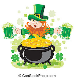 Leprechaun with mug of beer
