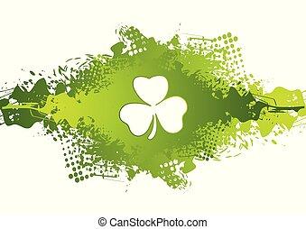 St. Patricks Day clover on green grunge blot background