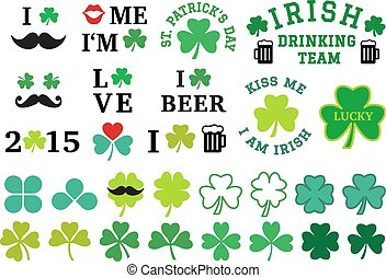 St Patrick's day, clover set, vecto