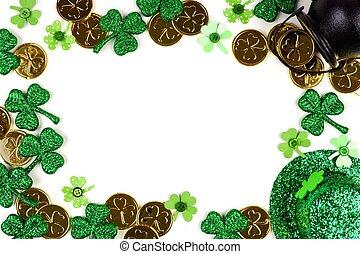 St Patricks Day decor frame isolated on white