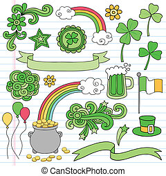St Patricks Day Doodles Icon Vector