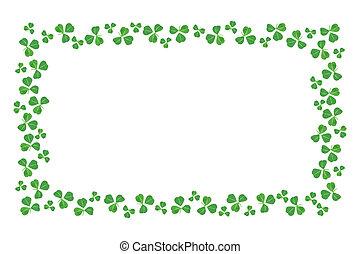 St Patricks Day frame edge of shamrocks over white
