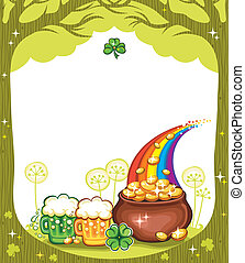 St. Patricks Day frame with trees, pot of gold, beer mugs,...