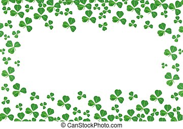 St Patricks Day frame of shamrocks over a white background
