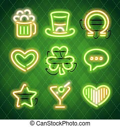 St Patricks Day Glowing Neon Signs Set