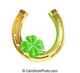 St. Patrick's day gold horseshoe on a white background