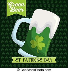 st patricks day green beer glass poster