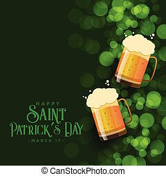 st patricks day green bokeh background with beer mugs