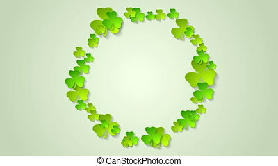 St. Patricks Day green clovers circle video animation - St....