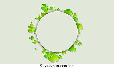 St. Patricks Day green shamrock clovers video animation -...