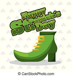 st patricks day green shoe and clover background