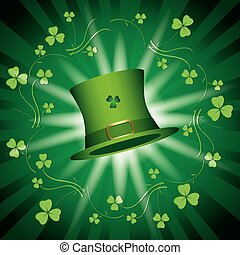 st patricks day - green vector shiny background with green hat