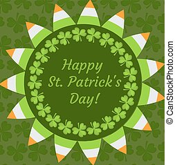 St. Patrick's Day greeting card, invitation, poster, flyer. Template for your design with clover, shamrock. Vector illustration.