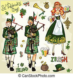St. Patricks Day - hand drawn clip art collection. Doodles,...