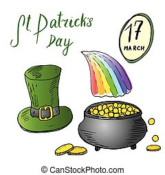 St Patricks Day hand drawn doodle set, with Irish traditional green leprechaun hat and a pot of gold coins at the end of rainbow, vector illustration isolated on white.