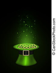A magical St. Patrick?s Day illustration: Green top hat full with golden shamrock coins which are sparkling on a black background.