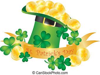St Patricks Day Hat Banner Gold Coins Illustration