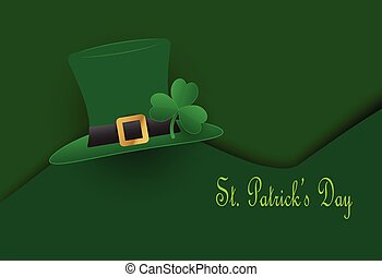St. Patrick's Day hat with clover on green background