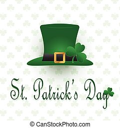 St. Patrick's Day hat with clover pattern background