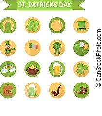 St. Patricks Day icon set design element. Traditional irish symbols in modern flat style. Isolated on white background. Vector illustration, clip art.
