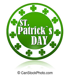 St. Patrick's Day in circle label with shamrocks