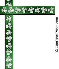 St Patricks Day background, card, Irish shamrock border, invitation or template with copy space