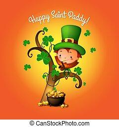 St. Patrick's Day Irish Leprechaun with Pot of Gold and Shamrocks