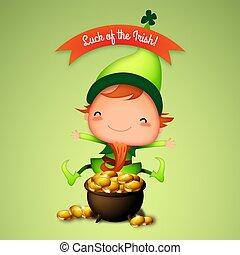St. Patrick's Day Irish Leprechaun with Pot of Gold